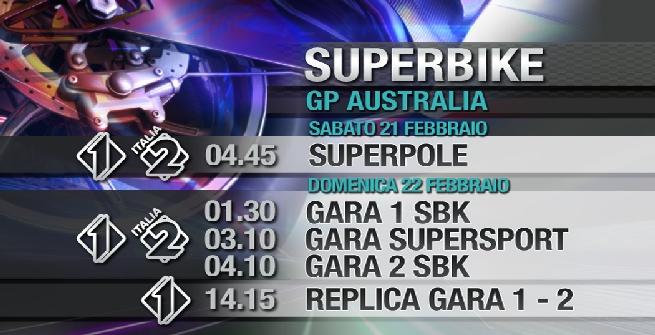 Superbike, gli orari tv di Phillip Island