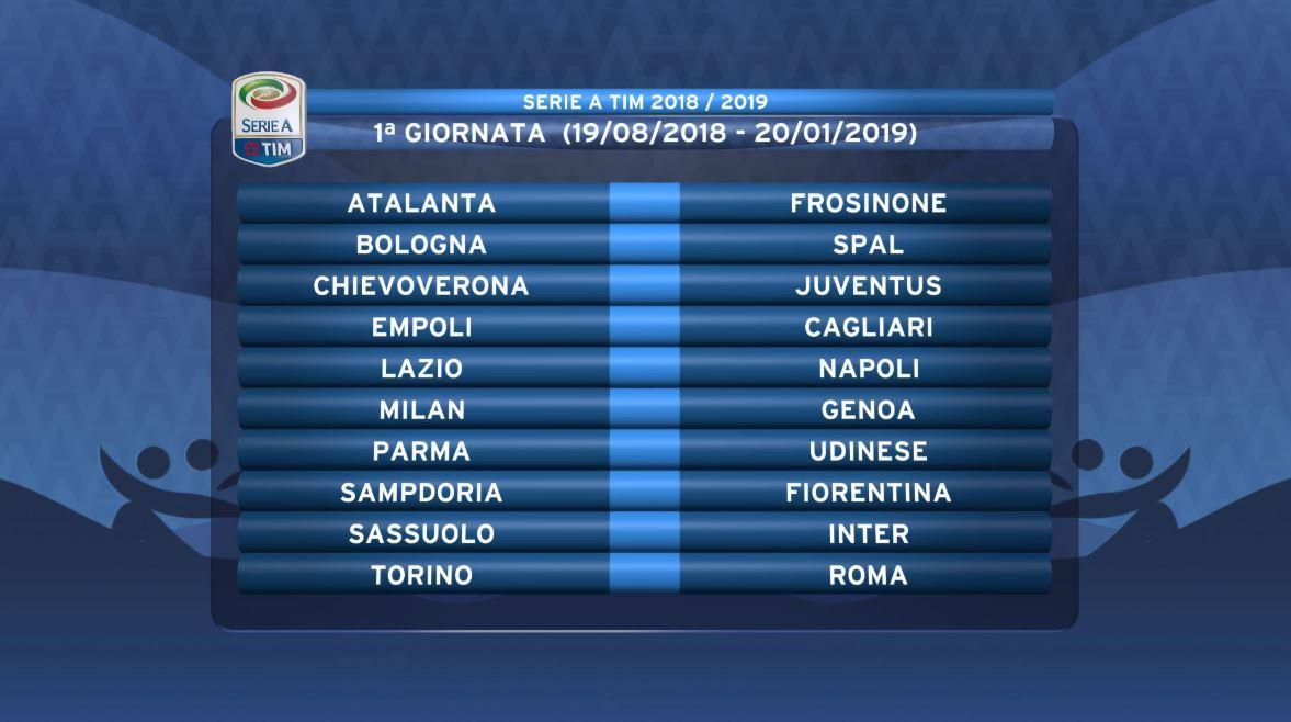 Tutto pronto per il campionato 2018-2019 di Serie A. Ecco tutte le partite
