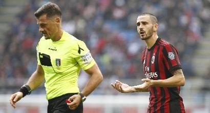 Milan, ufficiale: Bonucci squalificato contro Chievo e Juventus