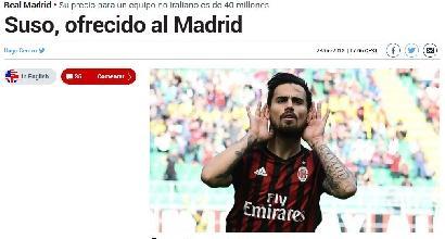 Milan, Suso: pericolo Real Madrid