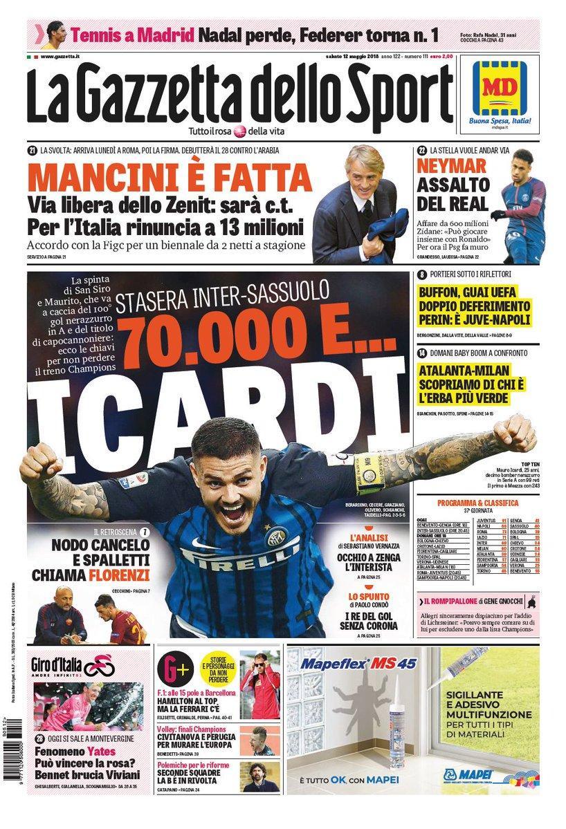 Ecco le prime pagine e gli approfondimenti sportivi dei principali quotidiani italiani e stranieri in edicola oggi, sabato 12 maggio 2018.