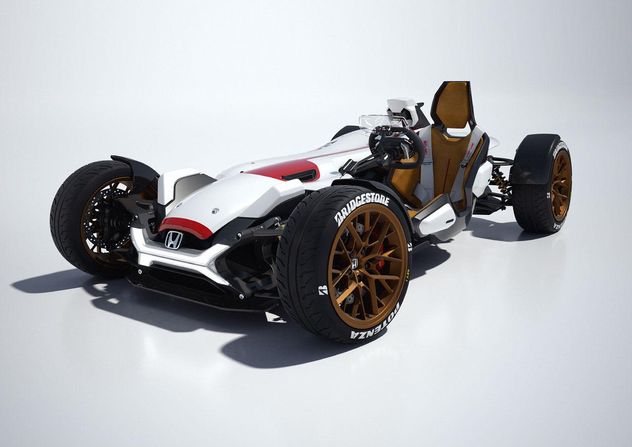 """'Honda Project 2&4 powered by RC213V', il progetto vincitore del """"Global Design Project"""" di Honda, debutterà al 66°Salone di Francoforte – dal 19 al 27 settembre – presso lo stand B11 nel padiglione 9.0.  Incarnando il concetto di """"manifattura creativa"""", l'Honda Project 2&4 celebra la posizione leader del marchio nel panorama mondiale dei produttori di motori, fornendo propulsori a 28 milioni di persone ogni anno tra veicoli a due e quattro ruote, prodotti power equipment, per la nautica per le applicazioni aerospaziali. Quale esempio dell'incessante impegno profuso da Honda nello sviluppare un'esperienza di guida sempre più immersiva, l'Honda Project 2&4 coniuga le esclusive competenze del marchio nella mobilità a due e a quattro ruote. Dotata del motore da competizione della RC213V MotoGP, modificato per renderla idonea a circolare sulle strade aperte al traffico, la Honda Project 2&4 offre la libertà di una moto e la manovrabilità di un'auto. L'eccezionale motore, sviluppato per la moto da competizione della classe MotoGP e appositamente adattato all'uso su strade pubbliche, è un V4 da 999 cc a quattro tempi, perfettamente rispondente alla filosofia progettuale Honda """"The Power of Dreams"""", da sempre ispiratrice di innovazione e originalità. La massima potenza erogata supera i 215 CV a 13.000 giri/min e la coppia massima è di oltre 118 Nm a 10.500 giri/min. Il cambio è a sei rapporti a doppia frizione (DCT, Dual Clutch Transmission)."""
