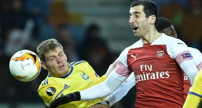 Europa League: l'Arsenal cade in 10 contro il Bate Borisov, colpo Benfica in trasferta