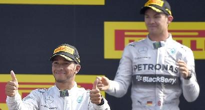 Hamilton e Rosberg, foto Afp