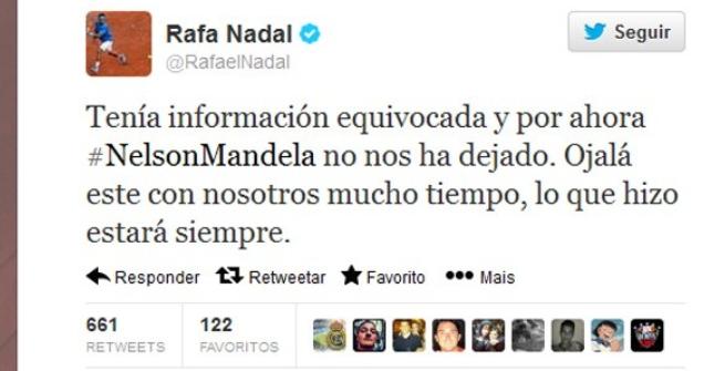 Gaffe Nadal, addio a Mandela via Twitter
