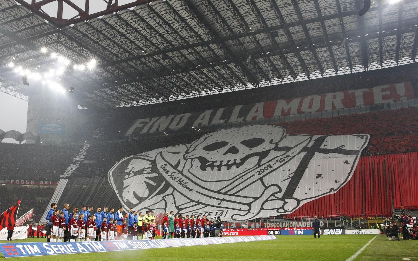 Derby di Milano, le coreografie di Milan e Inter