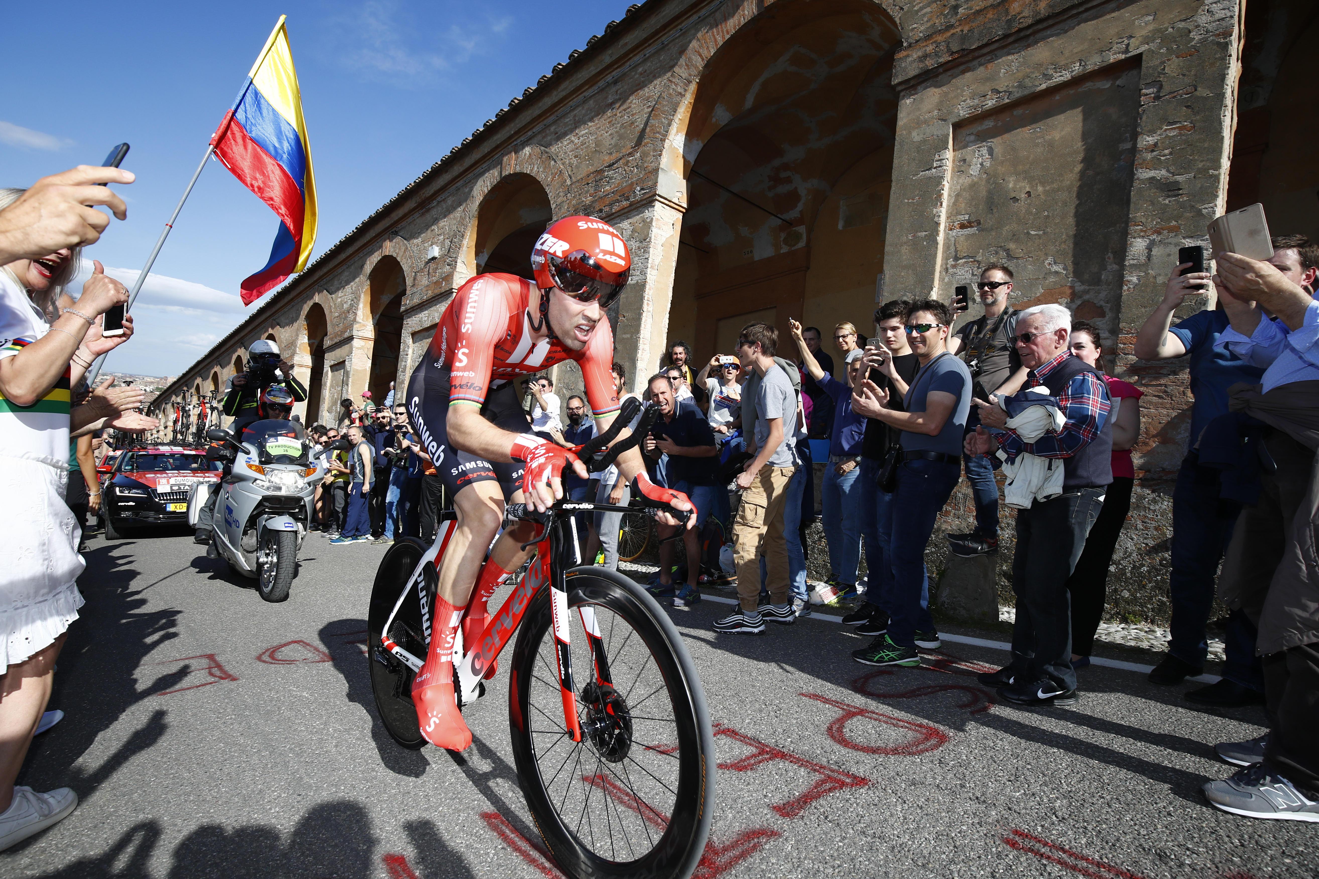 Lo sloveno vince la crono di apertura, terzo Nibali
