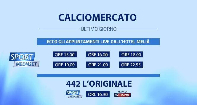 Alle 23 chiude il calciomercato: 4-4-2 L'originale in streaming e su TgCom24