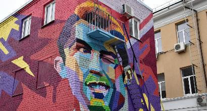 Mondiali 2018: camera con vista per Messi ma...su un murales dedicato a Cr7