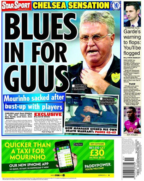 Le prime pagine dei quotidiani inglesi dopo l'esonero dello Special One