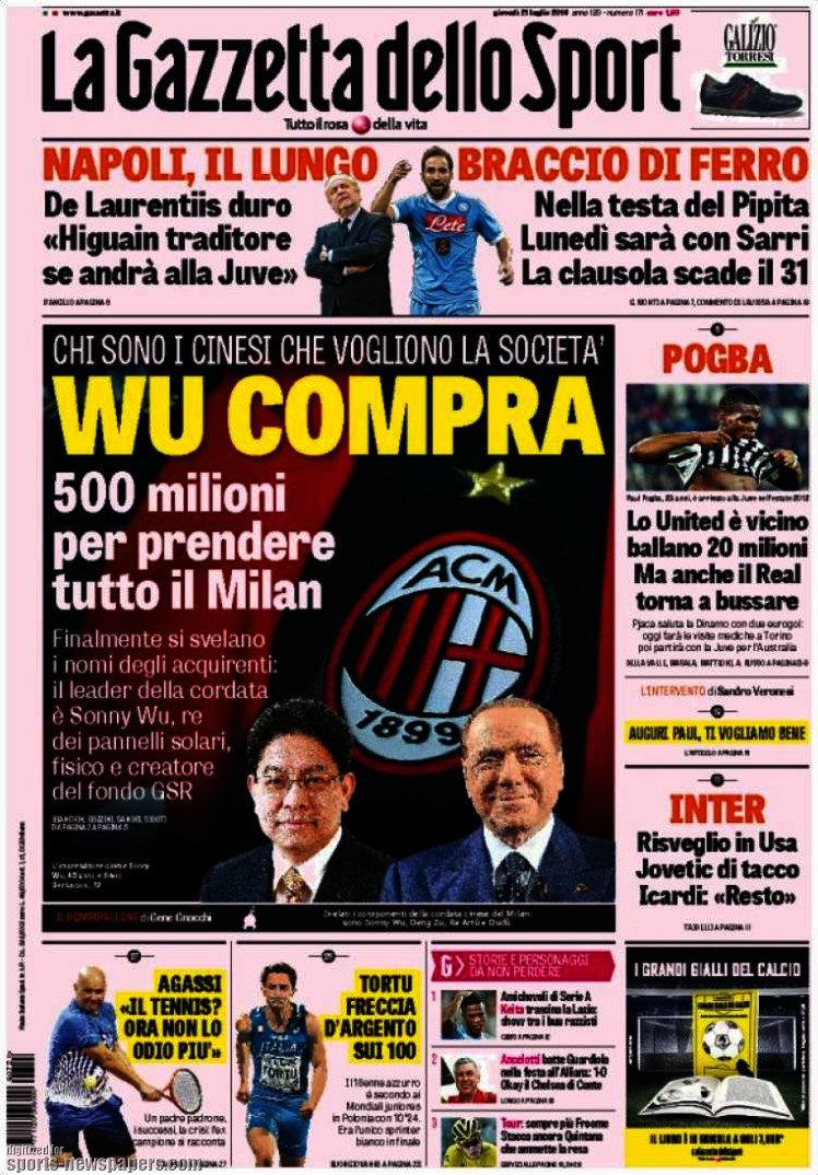 I giornali: 21 Luglio