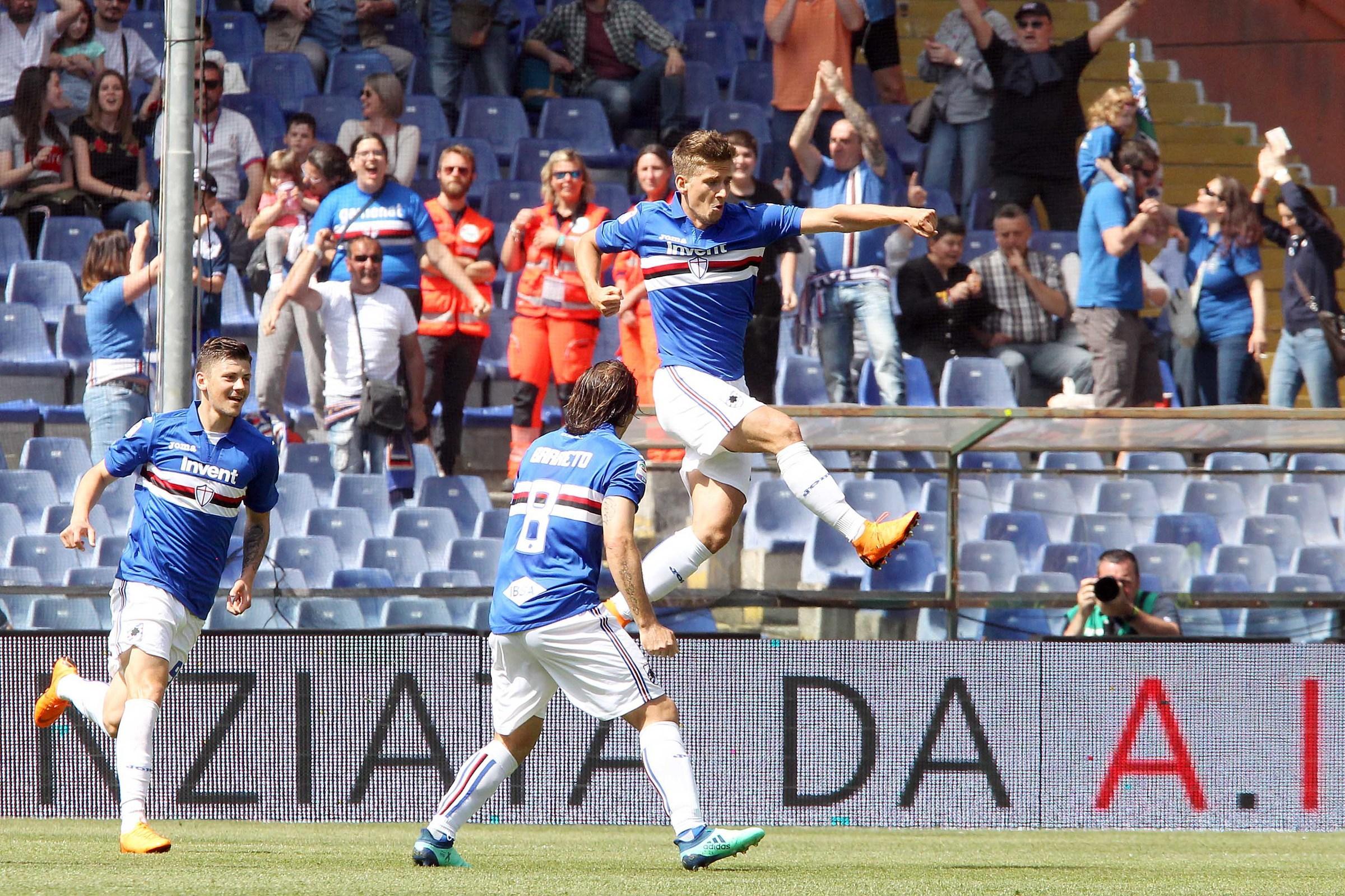Serie A, Sampdoria-Cagliari 4-1: decidono Praet, Quagliarella, Kownacki e Ramirez