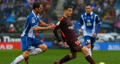 Liga: pari tra Espanyol e Barcellona, l'Atletico batte il Valencia e accorcia in classifica