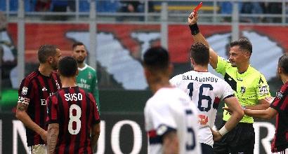 Milan-Genoa, gomitata di Bonucci: espulso col Var