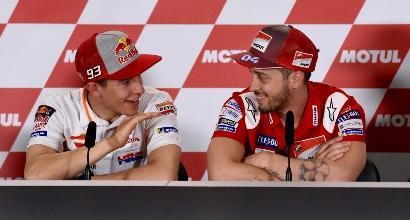 """MotoGP, Dovizioso: """"Rinnovo? Quando avrò una proposta la valuterò"""". Marquez: """"Qui mi sento forte"""""""