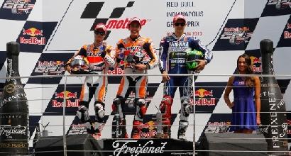 Marquez Pedrosa e Lorenzo podio Indy foto MotoGP.com
