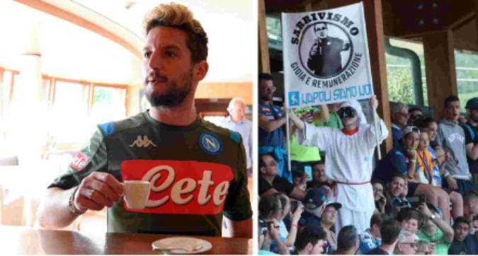 Napoli in ritiro, ovazione per Milik e Mertens: a Dimaro striscioni contro Sarri