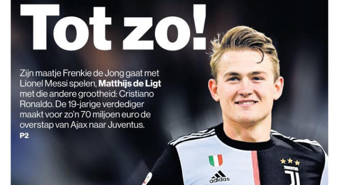 """Tutto fatto con la Juve e l'Ajax annuncia: """"De Ligt non in ritiro per possibile trasferimento"""""""
