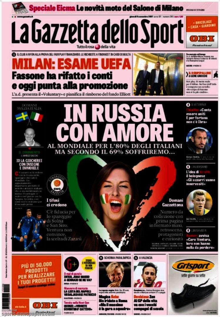 Ecco le prime pagine e gli approfondimenti sportivi dei principali quotidiani italiani e stranieri in edicola oggi, giovedì 9 novembre 2017.