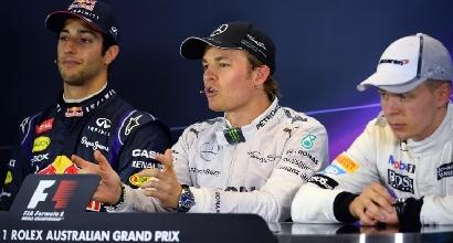 Ricciardo, Rosberg e Magnussen (AFP)