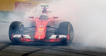 Il testacoda di Kimi Raikkonen (Afp)