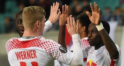 Europa League, andata ottavi: Mancini cade a Lipsia, tris del Marsiglia