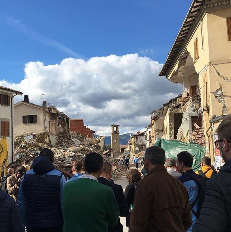 La Lazio in visita ad Amatrice