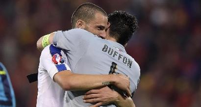 Buffon e Bonucci, foto Lapresse