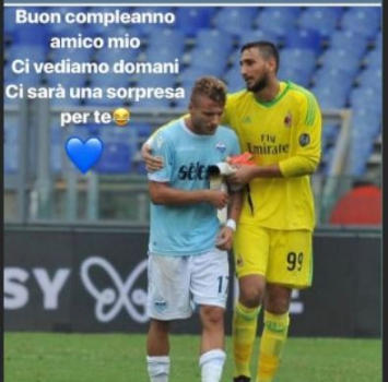 "Lazio-Milan, Immobile avvisa Donnarumma: ""C'è una sorpresa per te"""
