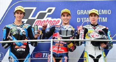 Il podio della Moto3 (Afp)