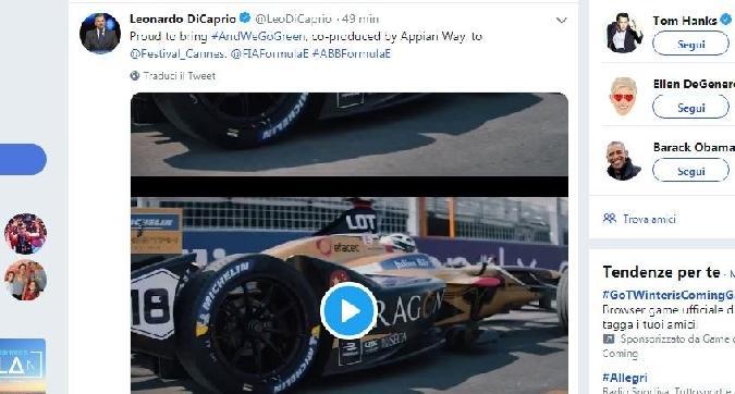 """DiCaprio """"orgoglioso"""" di portare la Formula E a Cannes"""