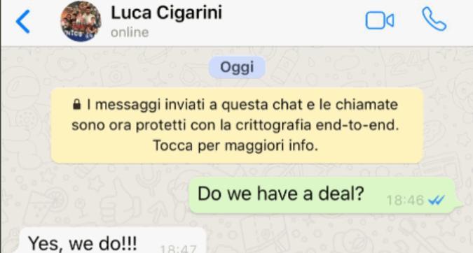 Cagliari: il rinnovo di Cigarini arriva su... Whatsapp