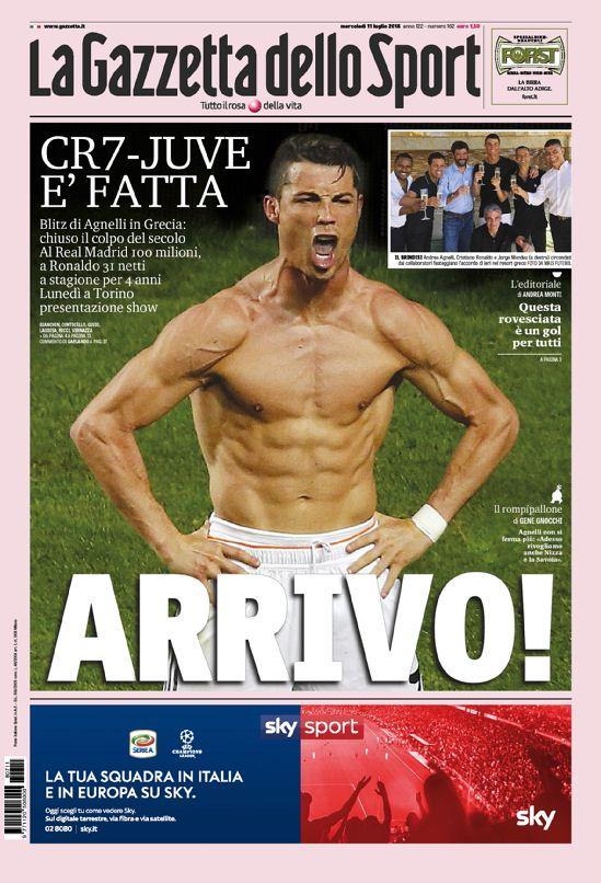 11 luglio - Le prime pagine dei giornali su CR7
