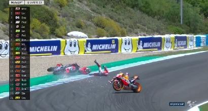 MotoGP: caduta incredibile per Dovizioso,Lorenzo e Pedrosa<br />