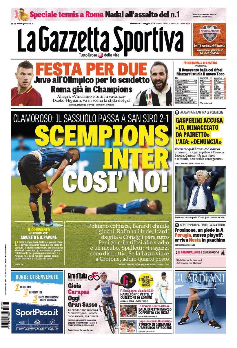 Ecco le prime pagine e gli approfondimenti sportivi dei principali quotidiani italiani e stranieri in edicola oggi, domenica 13 maggio 2018.