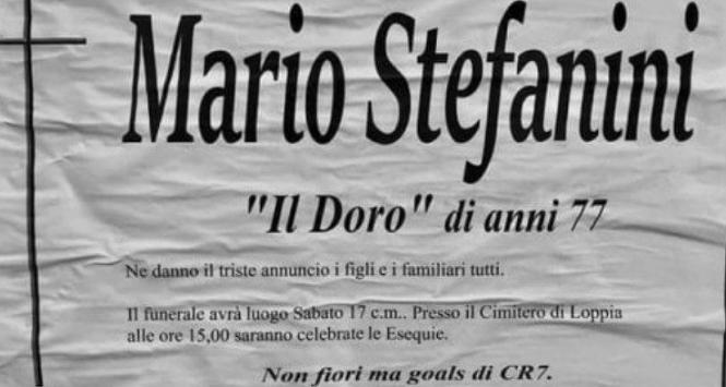 """Juventus, il manifesto funebre del tifoso: """"Non fiori ma gol di Cristiano Ronaldo"""""""