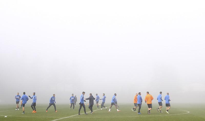 Inter, allenamento nella nebbia