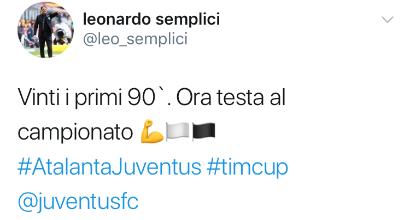 Post di Semplici sulla Juventus ma è un errore