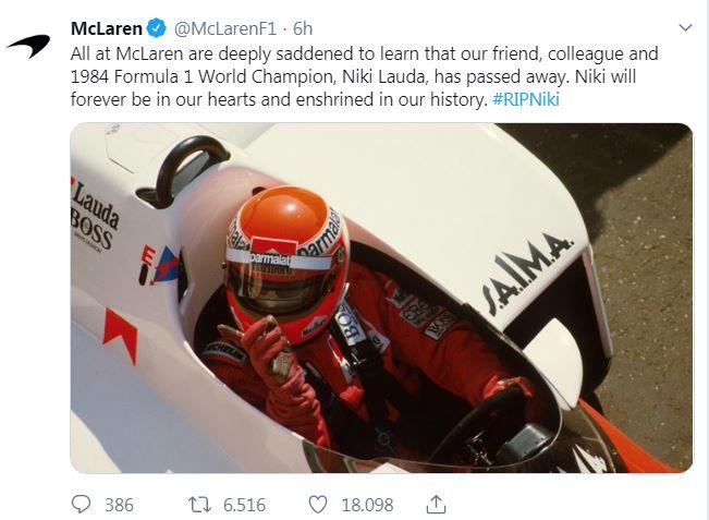 Il mondo della Formula 1 e non solo piange Lauda