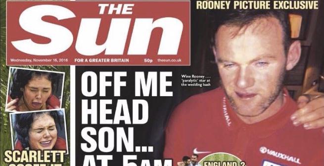 Wayne Rooney ubriaco dopo Inghilterra-Scozia FOTO