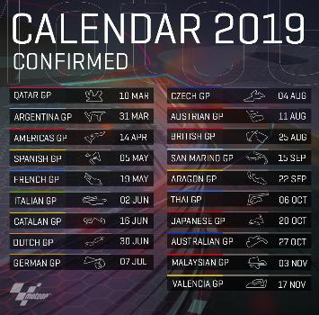 MotoGP, ufficializzato il calendario 2019
