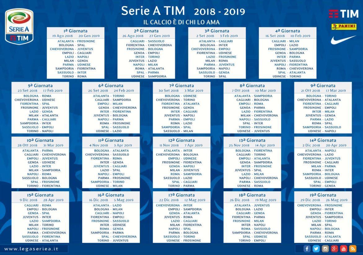 Tutto Il Calendario Serie A.Serie A Ecco Il Calendario 2018 2019 Foto Sportmediaset