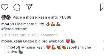 """Italia, Balotelli su Instagram: """"Finalmente Kean! Ora aspettami"""""""