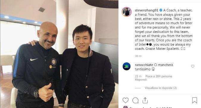 """Steven Zhang omaggia Spalletti: """"Sarai sempre il mio allenatore"""""""
