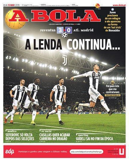 Le prime pagine dei quotidiani europei dopo la tripletta all'Atletico Madrid