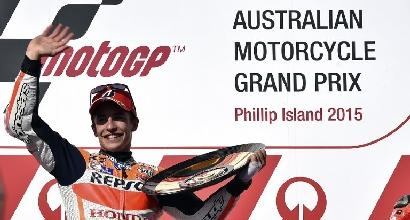 MotoGP: super Marquez a Phillip Island, Lorenzo 2° e Rossi giù dal podio