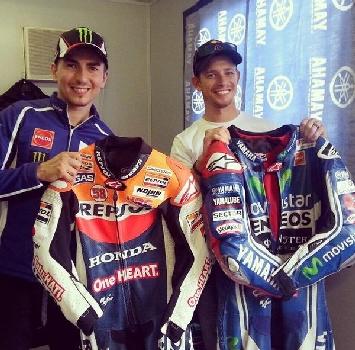 MotoGP, Lorenzo e Stoner si scambiano le tute