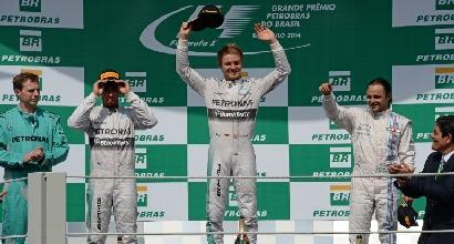 Il podio di Interlagos (Afp)