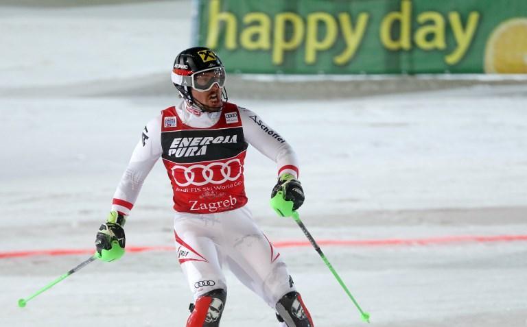 """Marcel Hirscher si conferma il migliore anche nello slalom della Coppa del Mondo di sci a Zagabria. Dopo una prima manche chiusa al secondo posto, l'austriaco va alla grande nella seconda e vince con un complessivo 1'50""""60: è il successo numero 50, come Tomba. Alle sue spalle il connazionale Michael Matt (+0""""05). Delusione per l'azzurro Stefano Gross, fuori dopo il quinto posto nella prima manche. Primo degli italiani Manfred Moelgg (+2""""37) decimo."""