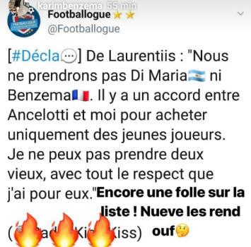 """Benzema, dura replica a De Laurentiis: """"Un altro folle nella mia lista"""""""